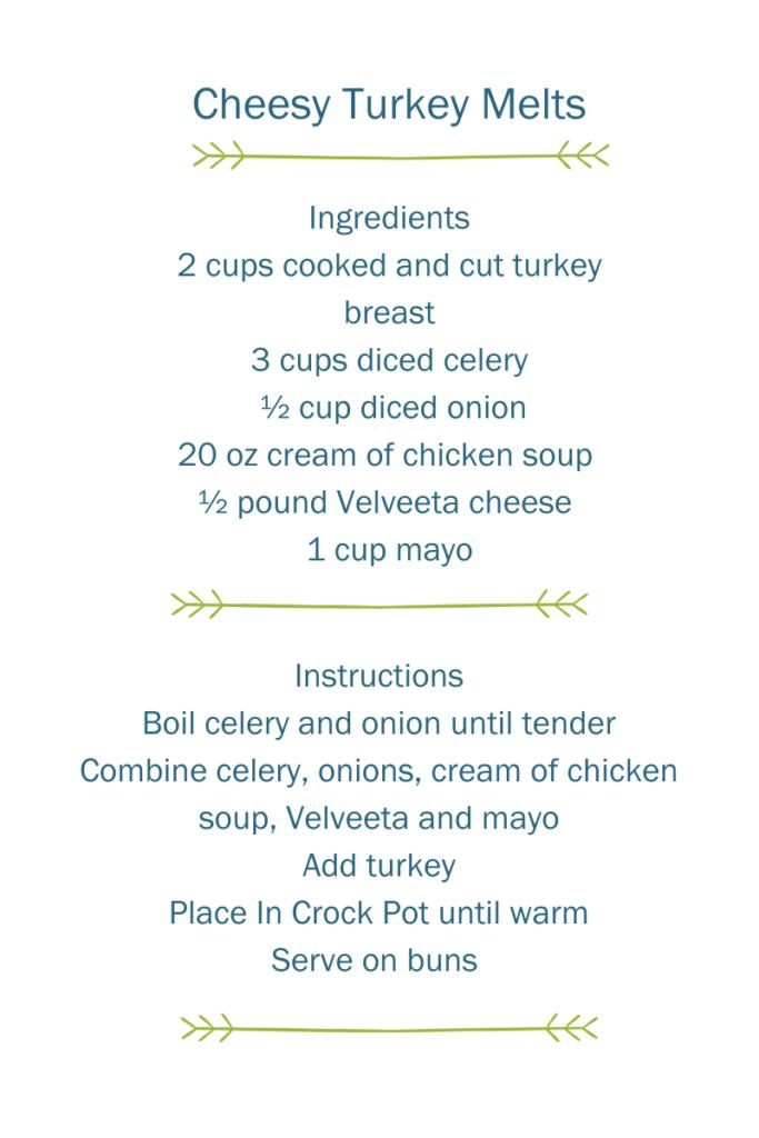 Recipe for Cheesy Turkey Melts